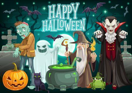 Monstres d'Halloween sur la carte de voeux de vecteur de cimetière des vacances d'octobre. Lanterne citrouille, fantôme et chauves-souris, chaudron de sorcière, dracula et chat, zombie et sorcier. Trick or Treat et conception de fête d'horreur