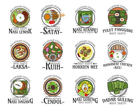 Malaysian cuisine isolated national food logos. Vector nasi lemak and satay, kerabu and pulut panggang, laksa and kuih, hokkien mee, hainanese chicken rice, nasi dagang and doreng, cendol and dadar Vettoriali