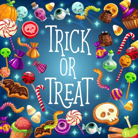 Halloween holiday, trick and treat, candies and pumpkin. Vector eyeball and cane candy, spider and chocolate, jelly warm and marmalade. Skull and witch hat on cupcake, lollipop and brain, poison Illustration