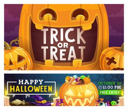 Halloween trick or treat party celebration poster with pumpkin lanterns. Vector Halloween night holiday scary candy sweets, witch hat and broom with candle and zombie skull eye