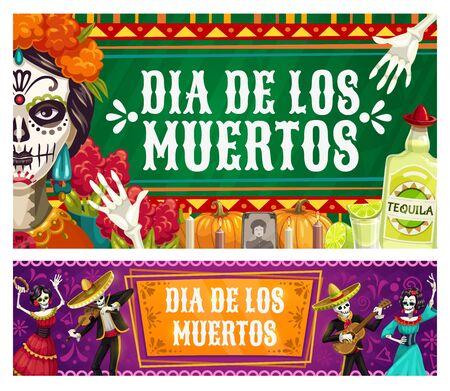 Dia de los Muertos, fête mexicaine du Jour des Morts, squelettes de catrina calavera en sombrero jouent aux maracas et dansent. Célébration vectorielle du Jour des morts, drapeaux mexicains, fleurs de souci et tequila sur l'autel Vecteurs