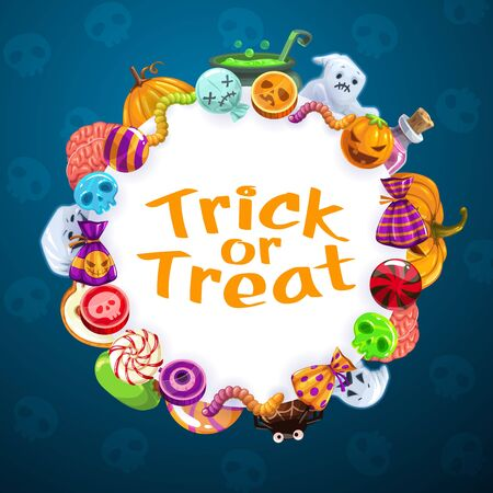 Trick or treat party sweet candies, Happy Halloween horror night holiday greeting. Vector Halloween spooky ghosts, pumpkin lantern and Jack zombie in spider web, brain and skull pattern