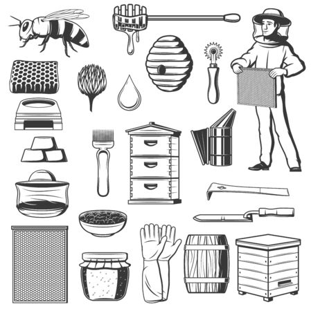 Beekeeping and honey production apiary isolated monochrome icons. Vector bee and beehive, dipper and beekeeper in protective cloth. Honeycomb and gloves, propolis and apiarist tools, barrel with honey Illustration