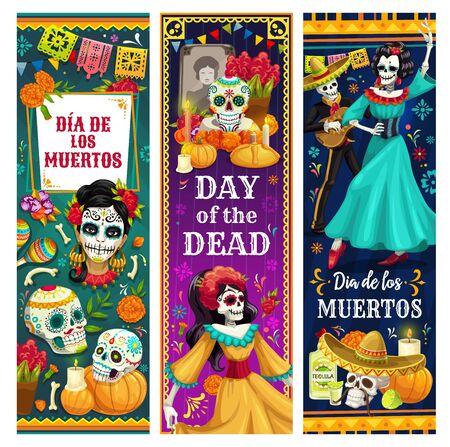 Bannières de voeux mexicaines du jour des morts vectorielles de la conception de Dia de los Muertos. Squelettes dansants, crânes en sucre et calavera Catrina, sombrero mariachi, guitare et robe de festival, autel et fleurs de souci Vecteurs