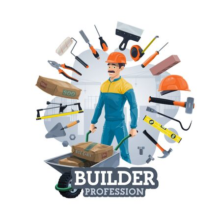 Builder profession and frame of work tools. Vector construction industry worker with wheelbarrow, bags of cement. Hard hat and trowel, repair and carpentry items, spanner and hand saw, paint roller