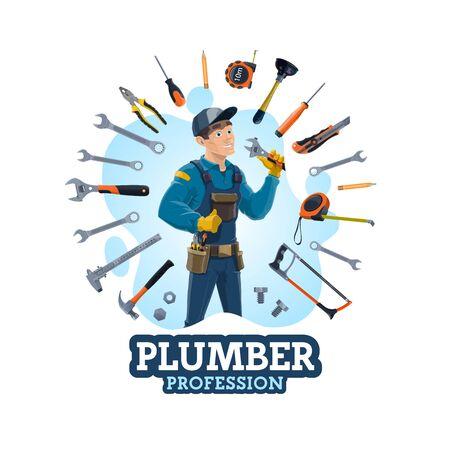 Profession de plombier, homme et équipement de travail. Services de réparation de plomberie d'urgence de vecteur et outils à main. Bouchon et tournevis, crayon et mètre de mesure, marteau, piston, clé et scie à main, clé