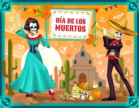 Mexican Day of the Dead dancing skeletons vector design of Dia de los Muertos holiday. Skeletons of Catrina, flamenco dancer and festival mariachi, sugar skull, sombrero and marigold flowers
