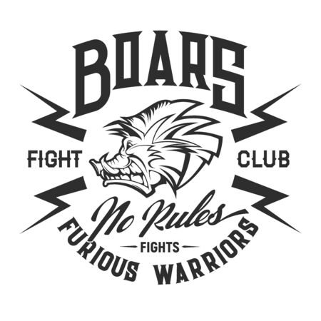 Boar t-shirt print of fight sport club vector design. Angry hog, head of wild animal with lightnings and hand lettering. Martial sportsman apparel and sporting uniform fashion