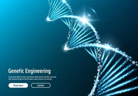 Aplicación web de estructura de ADN brillante de ingeniería genética o plantilla de página web. Hélice de ARN vectorial, molécula de célula cromosómica, cadena molecular genética. Terapia génica, innovaciones científicas del genoma