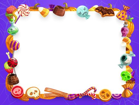 Halloween trick or treat sweets and candies frame with copy space vector design. Candy corn, pumpkin cake and cupcake, lollipop, chocolate and jellies, cookies and desserts in shape of skull and brain