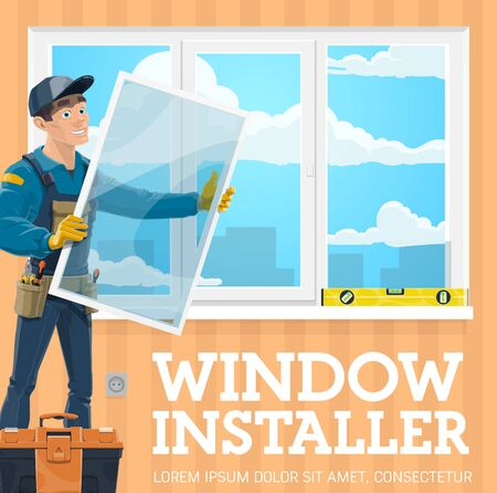 Window installer, windows installation service company. Vector handyman with window frame installing casement, tool kit, level. Male professional worker in uniform, screwdriver and pliers work tools Stock Illustratie