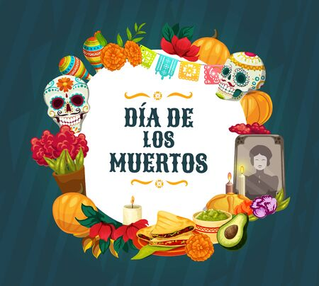 Dia de los Muertos altar decorations. Mexican Day of the Dead vector sugar skulls, Catrina calavera and marigold flowers, sweet bread, candles and maracas, paper cut flags and festive bunting Illustration