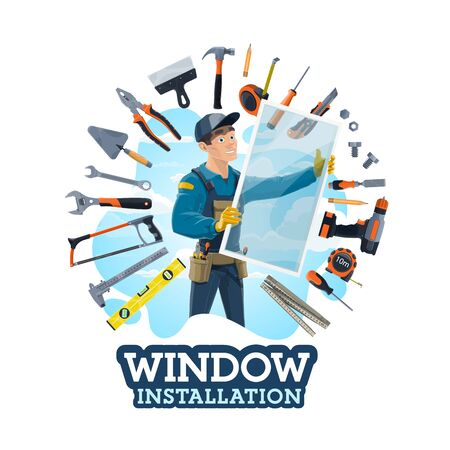 Window installer profession, work tools, installation of windows at homes, offices. Vector instruments, measure and handsaw, electric drill, hammer and spatula. Carpenter worker install glass frames