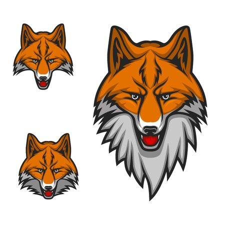 Muzzle of red or yellow fox with white beard isolated cartoon animal. Vector sport game championship competition mascot, head of fox, open mouth and tongue. Emblem of zoo, hunting or wildlife club