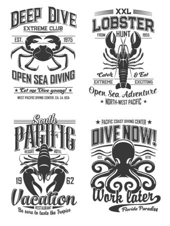 Diving club and seafood restaurant isolated monochrome logos with crab, lobster and octopus marine animals. Vector deep dive and open sea adventures club, pacific vacation and snorkeling paradise