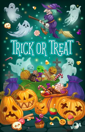 Halloween ghosts, witch and pumpkins vector design with autumn holiday trick or treat candies, lantern and cemetery gravestones. Horror night party invitation or greeting card
