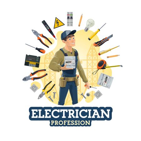 Electrician profession, man and work tools, electrical equipment. Vector lineman, counter and screwdriver, light bulb, electric services worker. Pliers, socket, knife and voltage tester, warning sign Illustration