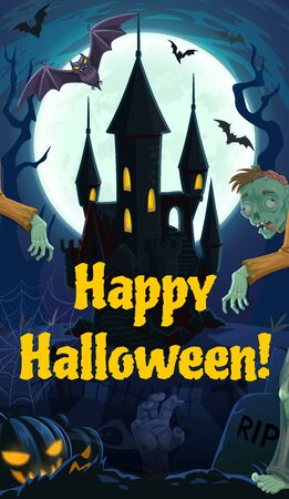 Moonlight and spooky castle at Halloween night. Vector cemetery or graveyard, zombies walking among gravestones, Jack lanterns or pumpkins on tombs. RIP and dead hand, cobwebs and bats on graves Stock Illustratie