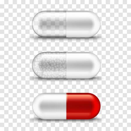 Pille Kapsel transparente weiße und rote Medikationsmodellvorlage. Vektor isolierte realistische Kapselpille mit Medizingranulat, Vitamin, Nahrungsversorgung und Symbol für Apothekenmedikamente