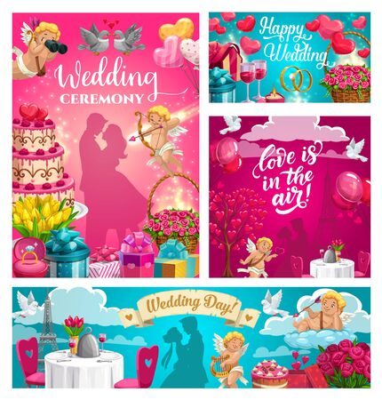 Wedding ceremony, love is in the air calligraphy greeting cards. Vector marriage day symbols, bride and groom couples and holiday dinner in Paris. Flower bouquets and cupids, hearts and gifts Vettoriali