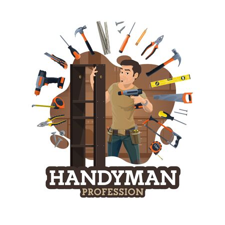 Handyman or furniture maker profession, worker and frame of work tools. Vector repairman with drill, woodwork pliers assembling modular shells. Work instruments of house repair, building, construction