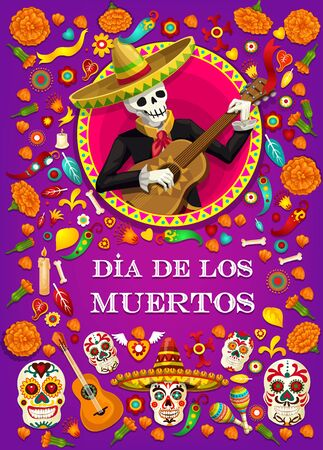 Dia de los Muertos Mexican holiday, skeleton in sombrero with guitar. Vector Dia de los Muertos or Mexico Day of Dead calavera skulls and marigold flowers, bones and jalapeno chili pepper