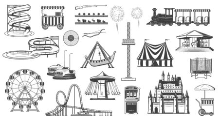 Amusement park attractions isolated monochrome icons. Vector entertainment elements, ferris wheel, carousel, roller coaster, popcorn ice cream machine. Aqua park and train, fireworks, shooting gallery Illustration