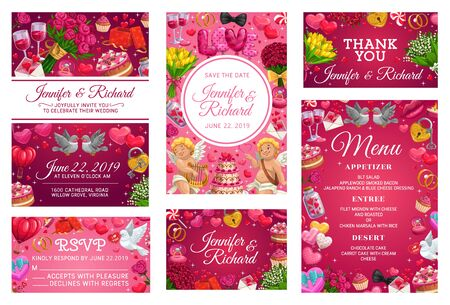Wedding invitations and response cards on save the date party. Vector bride and groom names calligraphy, menu template rsvp accepts or declines. Cupids, flowers and hearts, gifts and engagement items