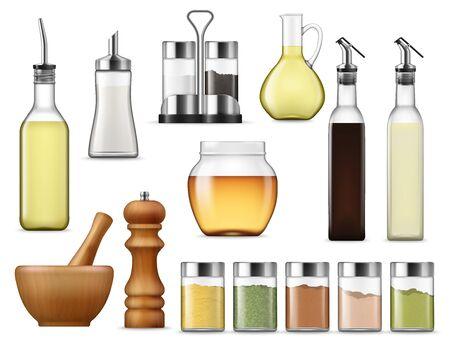 Envases de papel y sal, frascos de vidrio con especias de hierbas, paquete de vinagre aislado. Botella de vidrio de vector de miel, bastidores de condimentos y aceite de cocina. Dispensador de azúcar y jarra de aceite, aderezos para ensaladas y salsas