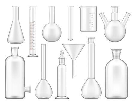 Tubes à essai, verrerie de laboratoire ou béchers icônes isolées. Maquettes de flacons chimiques vectoriels, lampes à cornue et à alcool, équipement scientifique et de recherche. Réservoirs en verre médical, équipement de mesure de laboratoire