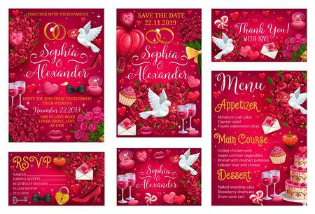 Thank you reply on wedding day invitation, rsvp response template. Vector bride and groom names lettering, menu with appetizer, desserts, main course. Doves and envelopes with hearts, love on marriage Stok Fotoğraf - 127507343
