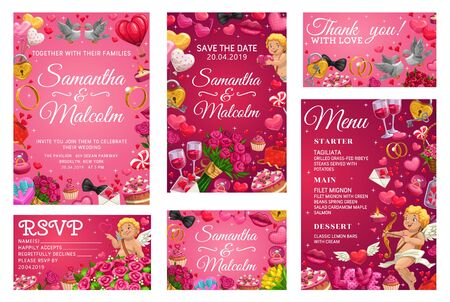 Save the date, bride and groom names calligraphy, menu template and thank you or rsvp wedding card. Vector marriage and love, cupids and engagement rings. Wine and desserts, flower bouquets and birds 일러스트