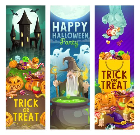 Halloween trick or treat party vector invitation cards with haunted house and horror night monsters. Scary pumpkin lanterns, ghosts and bats, witch hat, zombie and evil wizard, sweets, creepy castle Illustration