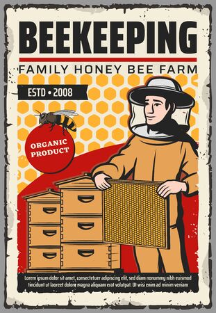 Beekeeping farm with honey bee, beehives and beekeeper vector design. Apiary bee hives, honeycombs and apiarist with beeswax frame, protective suit, hat and mask. Sweet food, apiculture themes Illusztráció