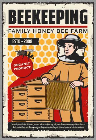 Granja de apicultura con diseño de vectores de abejas, colmenas y apicultor. Colmenas de abejas, panales y apicultor con marco de cera de abejas, traje protector, sombrero y máscara. Alimentos dulces, temas de apicultura