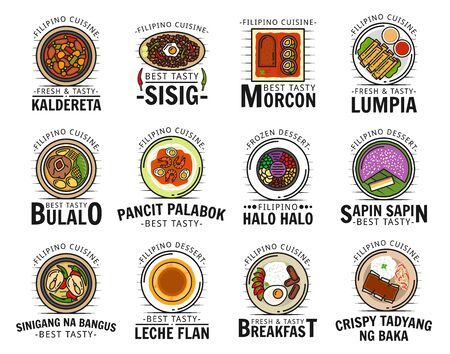 Filipino cuisine food isolated logos. Vector kaldereta and sisig, morcon lumpia, bulalo and pancit palabok, halo sapin, sinigang na bangus, leche flan, crispy tadyang bake meat dishes, pastry dessert Ilustração
