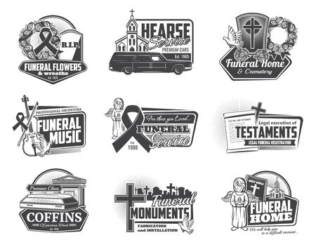 Funeral ceremony and hearse services isolated monochrome logos. Vector burial flowers and wreaths, crematory and orchestra music, testaments and coffins. Installation of monuments, church and angel Illustration