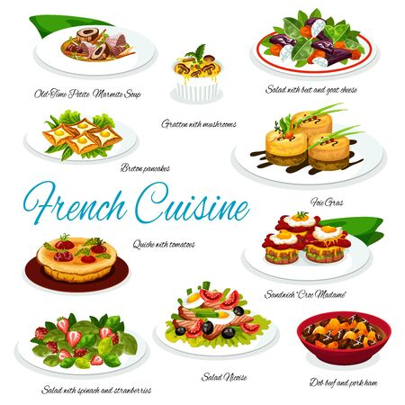 French cuisine meal of meat and vegetable dishes. Vector salads with cheese, olives, spinach and tuna, foie gras, tomato pie quiche and mushroom gratin, egg sandwich, buckwheat crepes and chicken soup