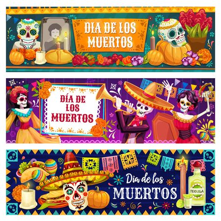 Dia de los Muertos skulls and skeletons vector design of Mexican Day of Dead holiday. Catrina, mariachi and flamenco dancers, sombrero, maracas and sugar calavera, marigold flowers, altar and bunting