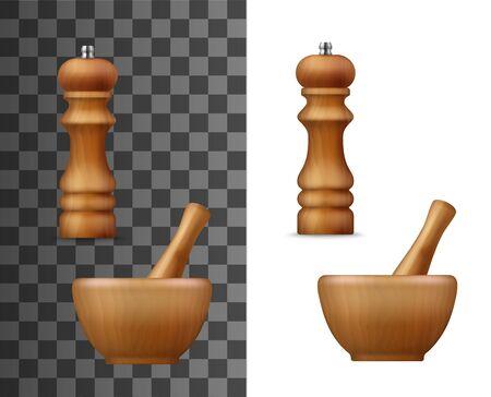 Pfeffermühle und Mörserschüssel mit Stößel, realistische 3D-Modelle. Vektorkochgewürzmühle, Einwegsalz- oder Pfeffermühle und Holzmörser, Küchengeräte
