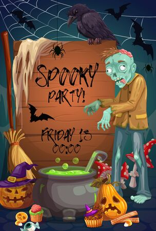 Halloween monsters vector design of horror night party invitation. Spooky pumpkins, bats and spider net, zombie, witch potion cauldron and broom, Halloween treats and black crow
