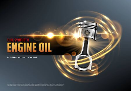 Car motor oil or auto engine synthetic lubricant 3d vector advertising banner with vehicle piston, sparkles and lens flares. Motor oil change station, auto service and car repair promotion