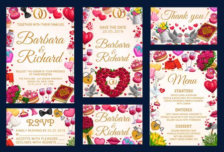 RSVP thank you card on wedding party, frame of bridal holiday attributes, menu template. Vector Save the date invitations, starters, enteres and desserts, accepts or declines. Love and hearts, flowers Çizim