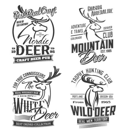 Deer animals silhouettes, hunting and adventure club, craft bar and beer pub isolated monochrome logos. Vector reindeer muzzle, hunter open season. Gazelle or antelope, moose elk head, wild stag deer