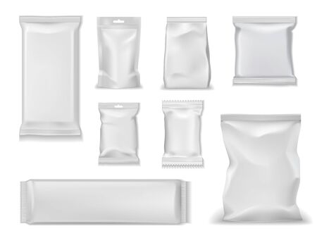 Bag packs, white foil doypack and sachet pouch template mockups. Vector isolated realistic 3D blank glossy doy pack, chip snacks, candy pack with zipper, wet towels and cosmetic products package