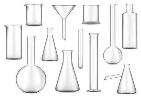 Laborglasvektordesign von chemischen Laborreagenzgläsern, -kolben und -bechern. Glaswarenausrüstung 3D-Darstellung von Chemie, Biologie, Medizin und Pharmazieforschungstechnologie, Wissenschaftlerwerkzeugen Vektorgrafik
