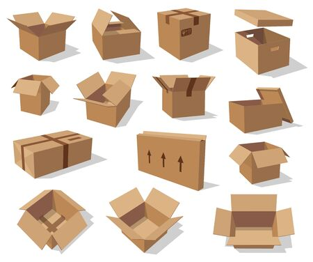 Cardboard boxes isolated mockups. Vector empty paper containers, open and closed packs with freight sign, arrows showing side to carry. Carton box in 3D design, delivery, transportation and shipping Vettoriali
