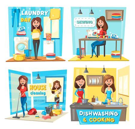 Huis schoonmaken, wassen en koken, naaien en afwassen vector ontwerp van huishoudelijk werk en huishoudelijke taken. Cartoonvrouwen met stofzuiger, was- en naaimachines, bezem, emmer en borstel