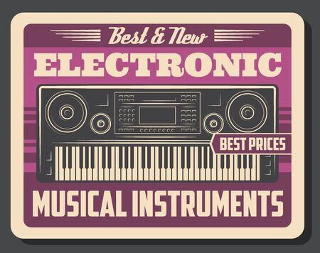 Cartel retro de instrumentos musicales electrónicos de sintetizador de vector con teclado de piano, botones, ruedas e interruptores, pantalla y altavoces. Diseño de tienda de música sintetizada