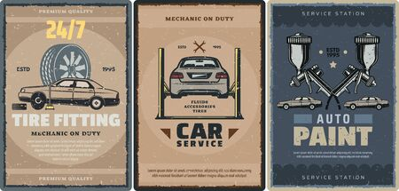Car repair service, tire fitting and auto paint station retro posters of mechanic garage vector design. Cars on vehicle lifts with wheels, rims and spanners, air spray paint guns and wrenches